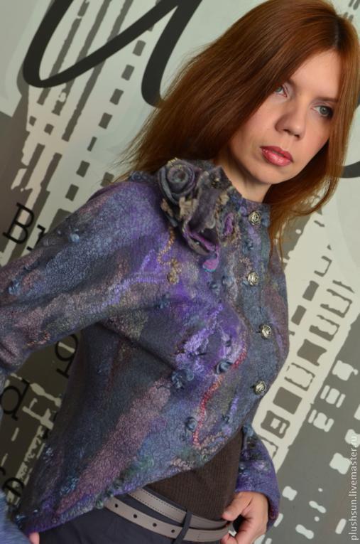 Пиджаки, жакеты ручной работы. Ярмарка Мастеров - ручная работа. Купить Валяный жакет «Someplace». Handmade. Темно-серый