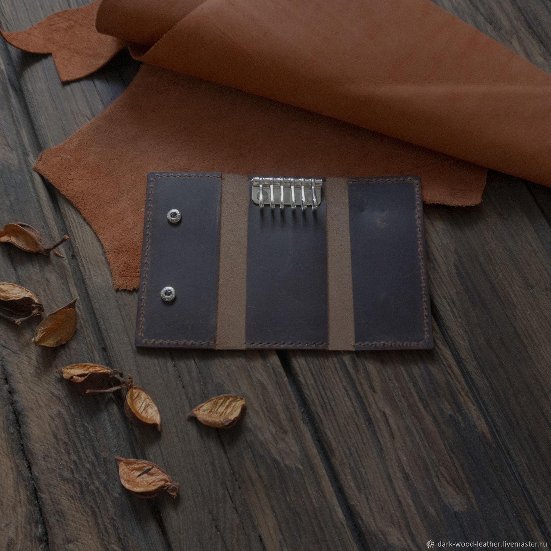 Ключница из коричневой кожи с эффектом пул-ап, Ключницы, Новосибирск,  Фото №1