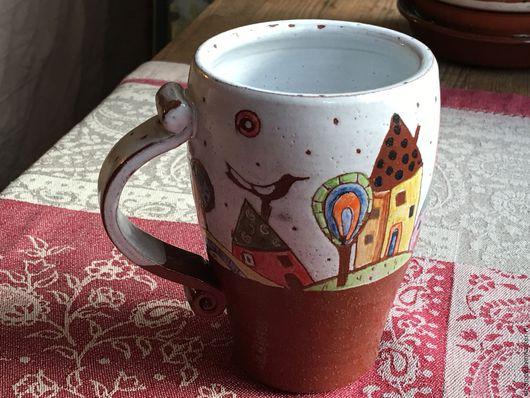 """Кружки и чашки ручной работы. Ярмарка Мастеров - ручная работа. Купить Кружка """"Город с птицей"""". Handmade. Комбинированный, кружка для чая"""