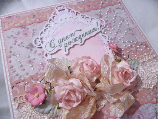 """Открытки на день рождения ручной работы. Ярмарка Мастеров - ручная работа. Купить Открытка """"Розовый зефир"""". Handmade. Бледно-розовый"""
