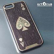handmade. Livemaster - original item ACE of SPADES - protective cover-pad for phone (wenge, bronze). Handmade.