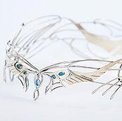 Украшения handmade. Livemaster - original item Diadem of nickel silver and brass with gems and enamel. Handmade.