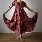 """Одежда ручной работы. Ярмарка Мастеров - ручная работа Льняное платье """"Фреско"""". Handmade."""