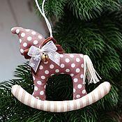 handmade. Livemaster - original item Horses toys for the Christmas tree rocking horse polka dots New Year horse. Handmade.