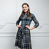 Одежда ручной работы. Ярмарка Мастеров - ручная работа Теплое шерстяное Платье в крупную синюю шотландскую клеточку. Handmade.