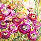 Картины цветов ручной работы. Ярмарка Мастеров - ручная работа. Купить Ранункулюсы -картина маслом на холсте. Handmade. Фуксия, красный