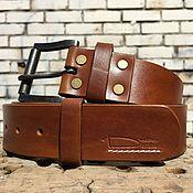 Ремни ручной работы. Ярмарка Мастеров - ручная работа Ремень кожаный табачно-коричневый. Handmade.