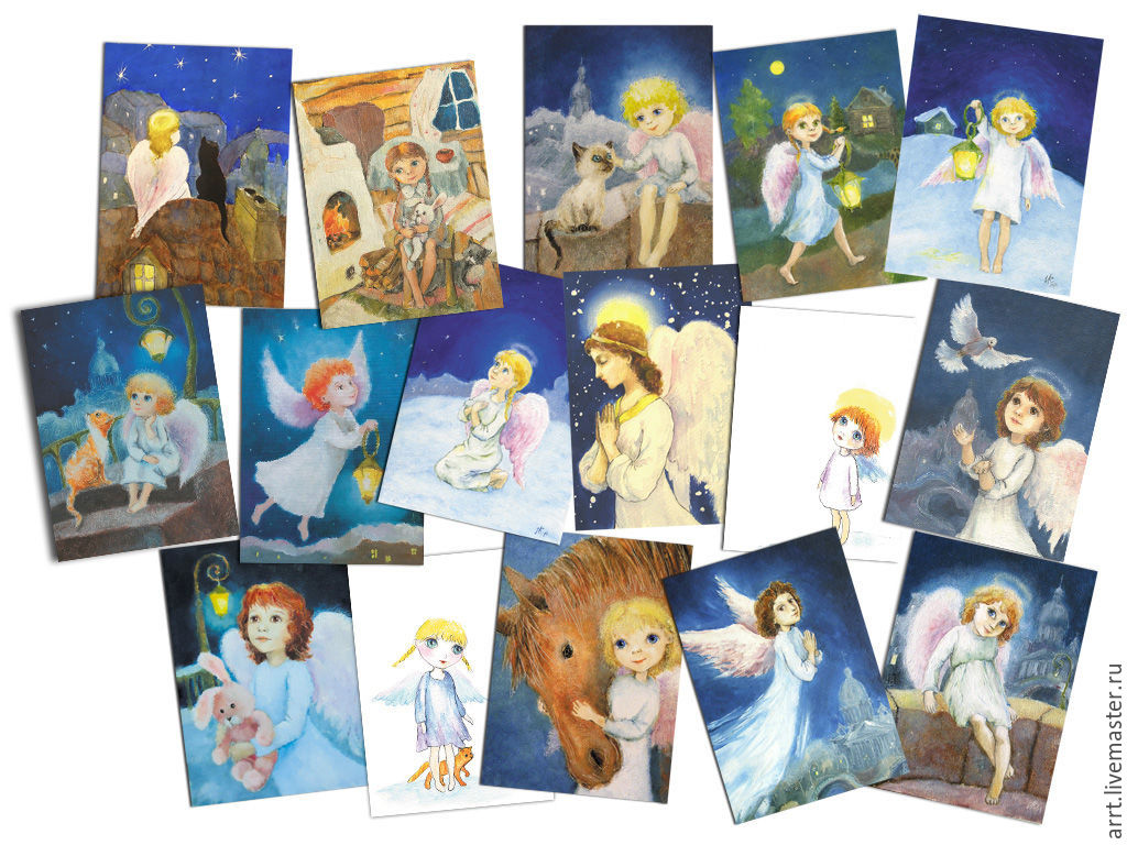 Cards Angels birthday Christmas Set of 16 PCs, Cards, St. Petersburg,  Фото №1