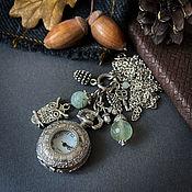 Украшения handmade. Livemaster - original item Watch pendant in vintage style with natural green prenite Owl. Handmade.