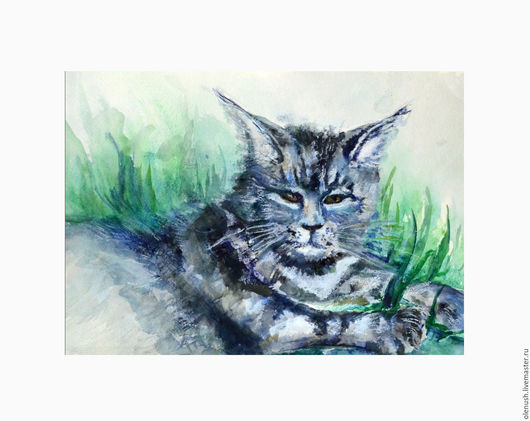"""Животные ручной работы. Ярмарка Мастеров - ручная работа. Купить Картина акварелью """"Мейн кун"""". Handmade. Комбинированный, картина"""