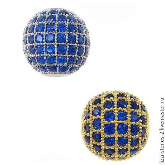 Бусина шар с синими кристаллаим 8,10 мм золото и серебро (Milano) Евгения (Lizzi-stones-2)