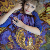 Аксессуары handmade. Livemaster - original item Batik scarf Sirin 110/110cm.. Handmade.