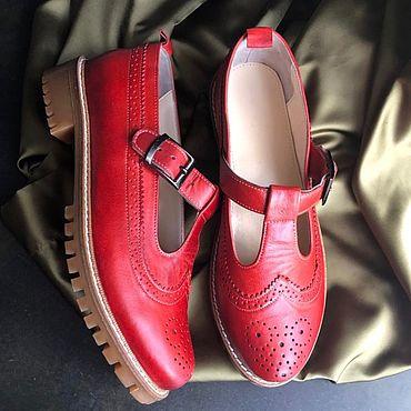 Обувь ручной работы. Ярмарка Мастеров - ручная работа Туфли «Mary» кирпич беж протекторная подошва. Handmade.