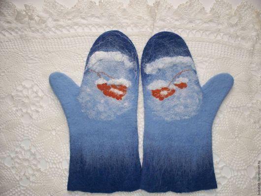 Варежки, митенки, перчатки ручной работы. Ярмарка Мастеров - ручная работа. Купить Валяные варежки С Новым годом. Handmade.
