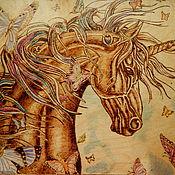 """Картины и панно ручной работы. Ярмарка Мастеров - ручная работа Картина """"Единорог и бабочки"""". Handmade."""