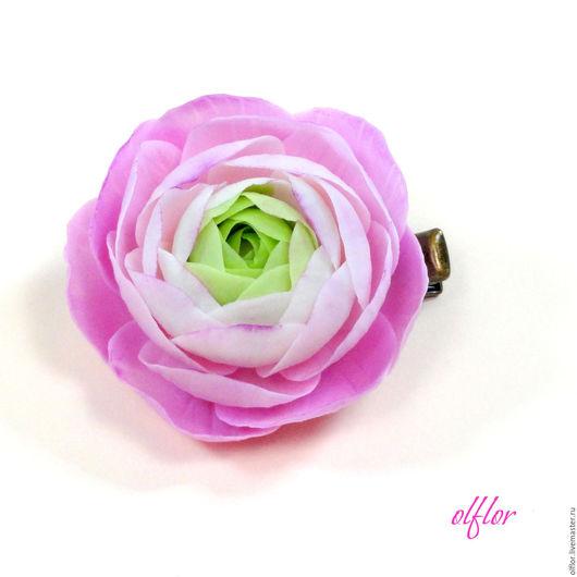 """Детская бижутерия ручной работы. Ярмарка Мастеров - ручная работа. Купить Заколка """"Ранункулюс"""". Handmade. Розовый, зеленый, цветок"""