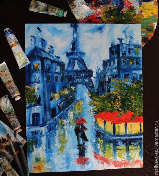 Автор Маллуева Екатерина. Дождливый Париж, в лужах отражается свет фонарей и витрин, что может быть романтичнее. Сюжет картины взят из картин Александра Болотова.