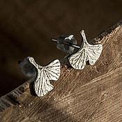 Украшения ручной работы. Ярмарка Мастеров - ручная работа Серебряные серьги - лист гинкго. Handmade.