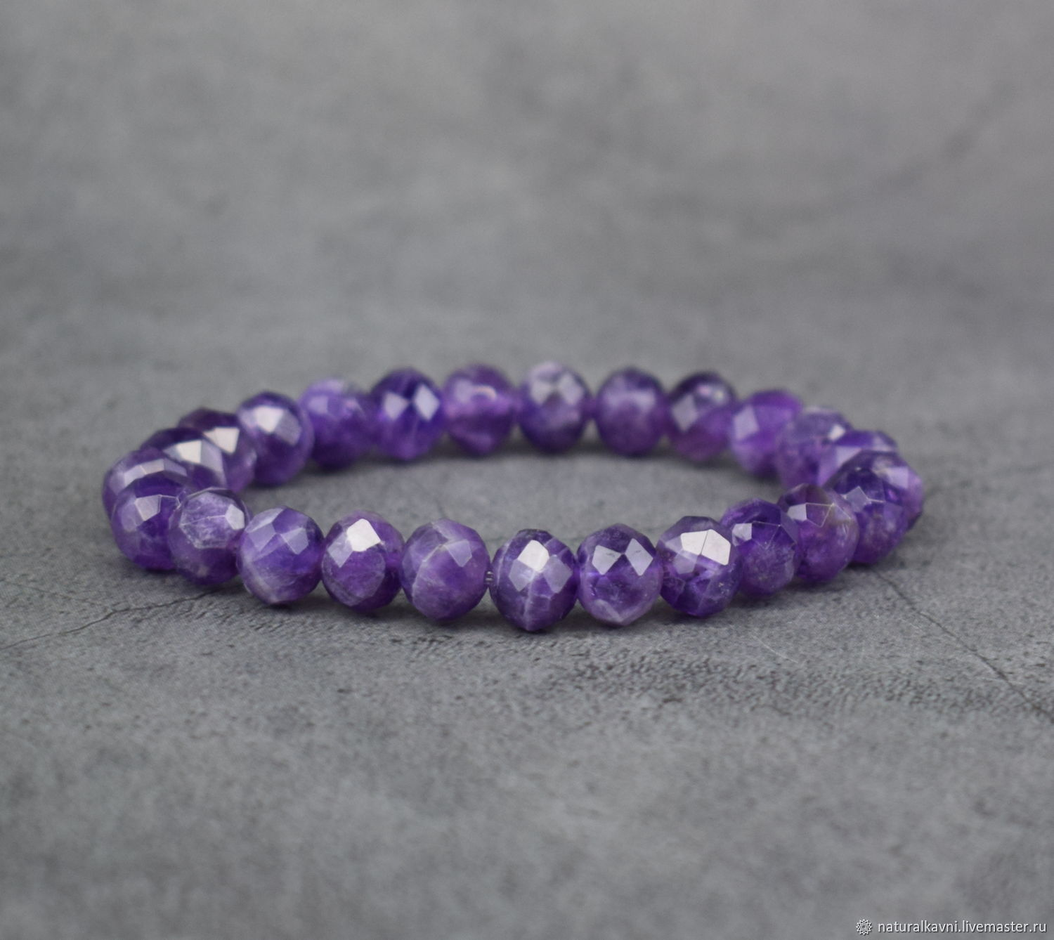 Bracelet natural stone amethyst with a cut, Bead bracelet, Moscow,  Фото №1