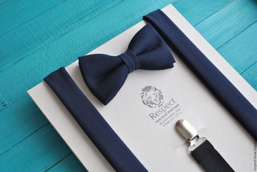 Комплекты аксессуаров ручной работы. Ярмарка Мастеров - ручная работа. Купить Темно синяя галстук бабочка + Подтяжки темно синие однотонные Глубина. Handmade.