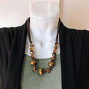 Украшения handmade. Livemaster - original item Necklace large. Beads from natural stone tiger`s eye. Handmade.