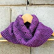 Аксессуары handmade. Livemaster - original item Scarf knit purple Snood with lurex Merino with silk. Handmade.