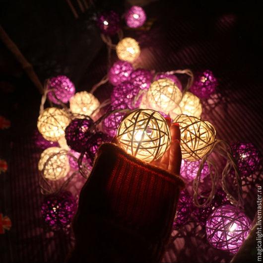 Освещение ручной работы. Ярмарка Мастеров - ручная работа. Купить Пурпурная ротанговая гирлянда. Handmade. Фиолетовый, светильник ручной работы