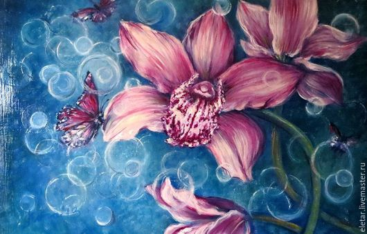 Картины цветов ручной работы. Ярмарка Мастеров - ручная работа. Купить Картина маслом на холсте Дикая орхидея. Handmade. Фуксия