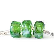 Украшения ручной работы. Ярмарка Мастеров - ручная работа Зеленые бусины-камни для браслета в стиле пандора. Handmade.
