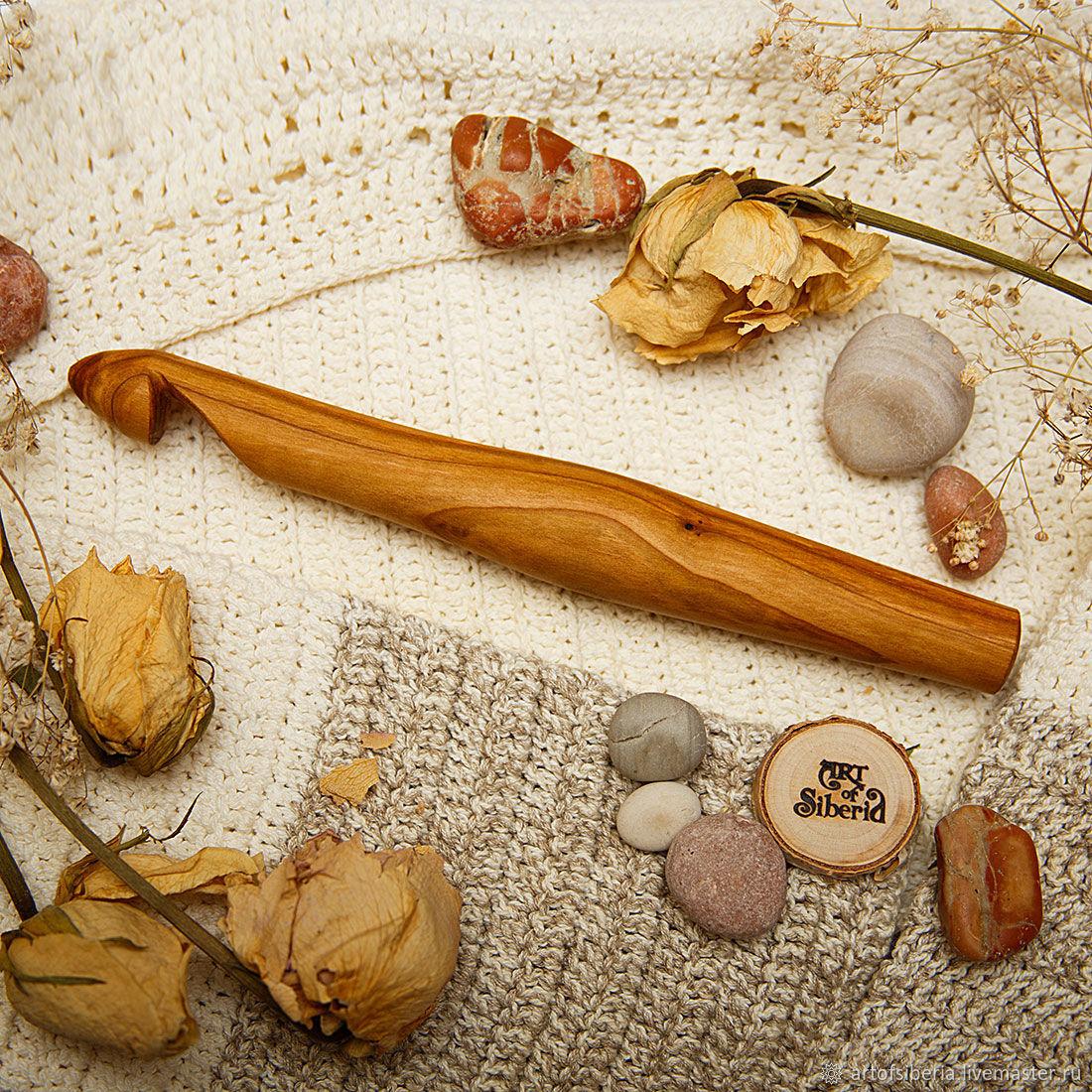 Большой Деревянный Крючок для вязания 20мм Вишня Крючки из дерева #K65, Инструменты для вязания, Новокузнецк, Фото №1