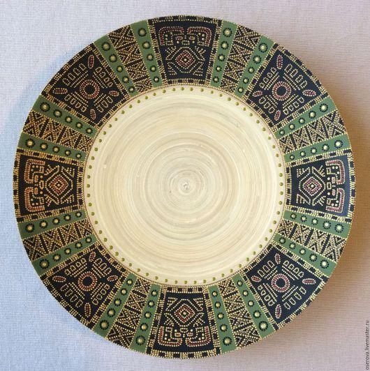 Декоративная посуда ручной работы. Ярмарка Мастеров - ручная работа. Купить Декоративное блюдо из бамбука с точечной росписью. Handmade. Тарелка