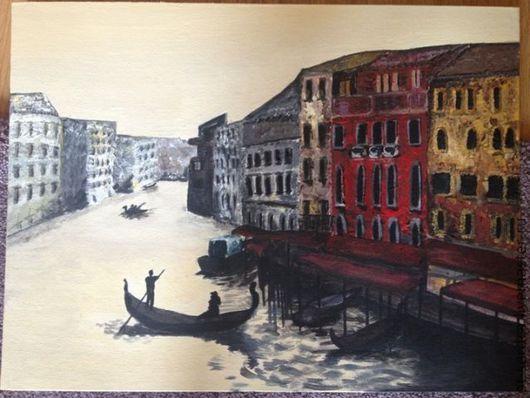 Пейзаж ручной работы. Ярмарка Мастеров - ручная работа. Купить Картина городской пейзаж Прогулка по воде. Handmade. Картина