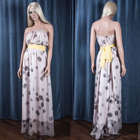 Платья ручной работы. Ярмарка Мастеров - ручная работа. Купить Платье длинное в пол из шифонового шёлка. Handmade. Комбинированный