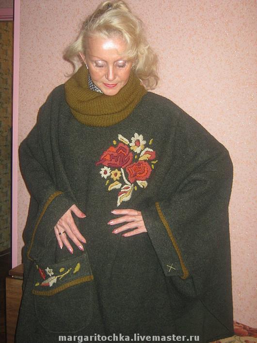 """Большие размеры ручной работы. Ярмарка Мастеров - ручная работа. Купить пальто пончо """"Букет"""". Handmade. Свободное, пальто бежевое"""