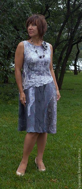 Платья ручной работы. Ярмарка Мастеров - ручная работа. Купить платье валяное Жемчуга. Handmade. Серый, шерсть меринос