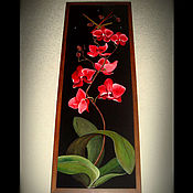 """Для дома и интерьера ручной работы. Ярмарка Мастеров - ручная работа Картина - часы """"Красная орхидея"""". Handmade."""
