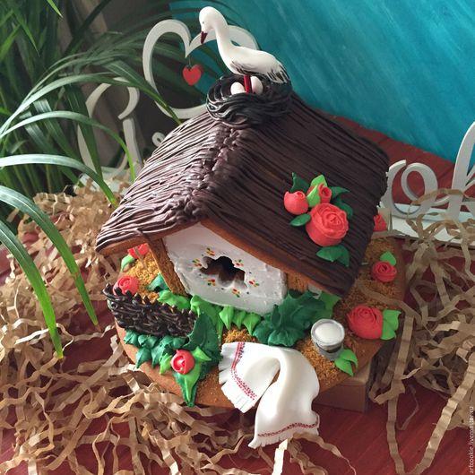 Кулинарные сувениры ручной работы. Ярмарка Мастеров - ручная работа. Купить Пряничный домик в украинском стиле. Handmade. Белый, аист