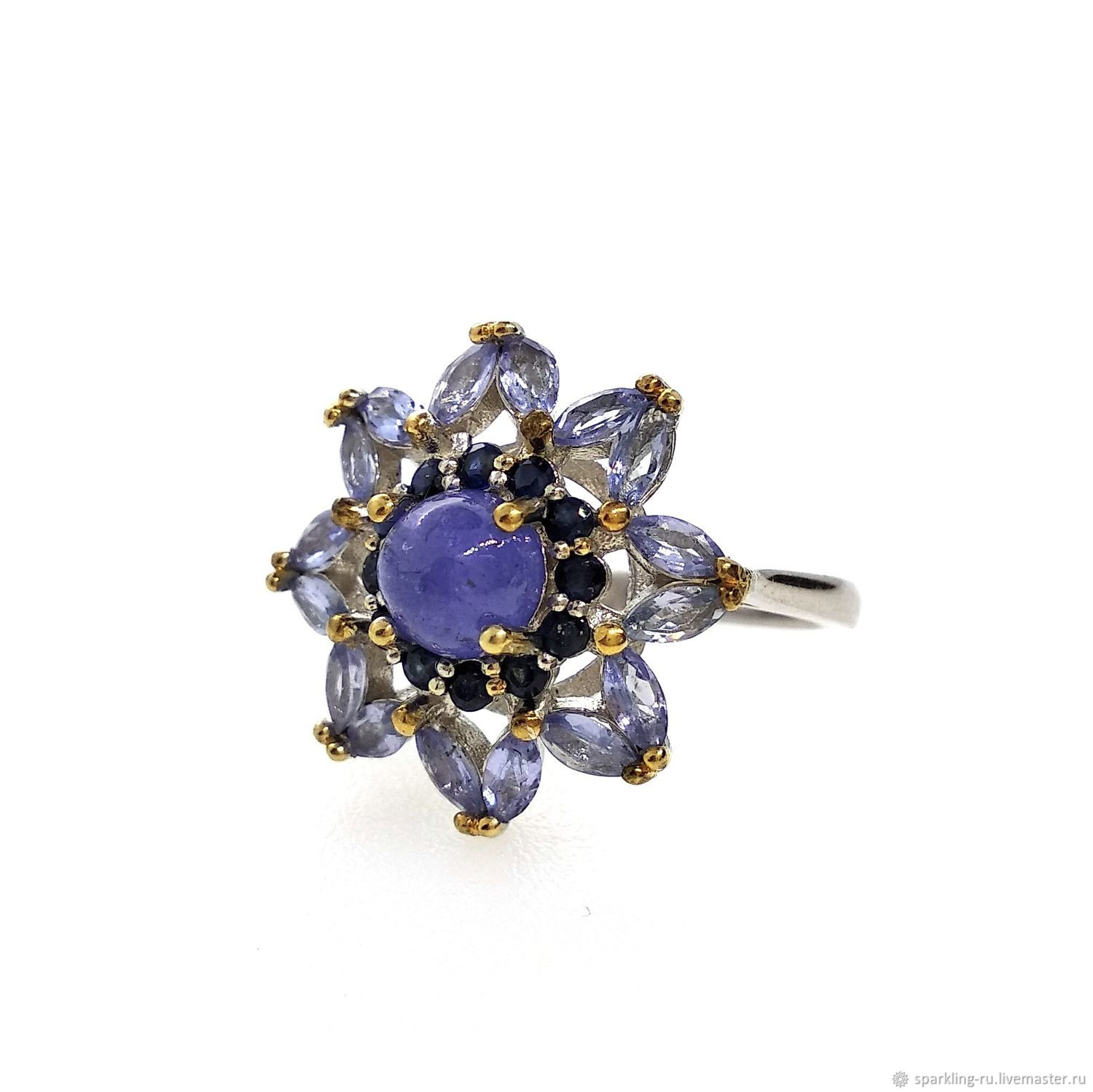 Silver ring with tanzanite Flower, size 16, Rings, Moscow,  Фото №1