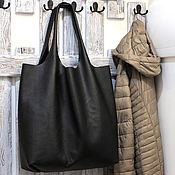 Сумки и аксессуары handmade. Livemaster - original item tote bag large leather - bag pack huge black shopper bag. Handmade.