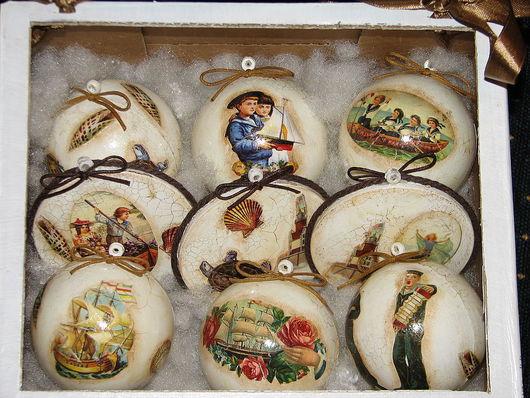 Новый год 2017 ручной работы. Ярмарка Мастеров - ручная работа. Купить новогоднее украшение, игрушка на елку в морском стиле. Handmade.