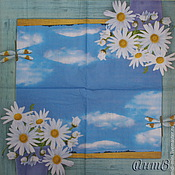 Материалы для творчества handmade. Livemaster - original item 8pcs napkin decoupage daisies flowers sky window dragonfly print. Handmade.