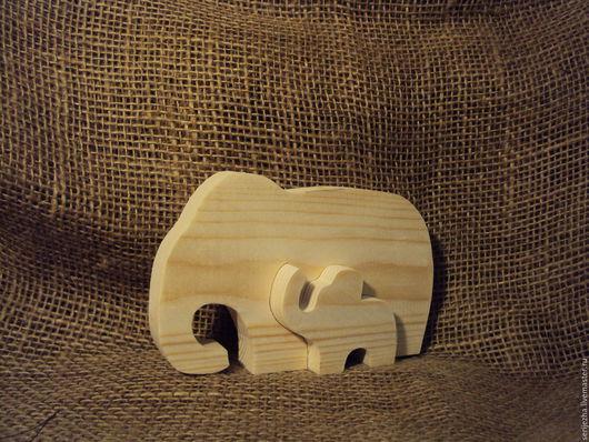 Пазл Слон и слонёнок, деревянная игрушка ручной работы