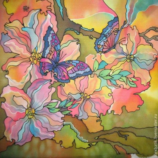 """Картины цветов ручной работы. Ярмарка Мастеров - ручная работа. Купить Батик панно """"Танец Цветов"""". Handmade. Разноцветный"""