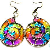 Украшения handmade. Livemaster - original item Earrings brass stained glass