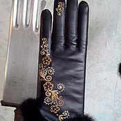 Аксессуары ручной работы. Ярмарка Мастеров - ручная работа Перчатки кожаные с опушкой. Handmade.