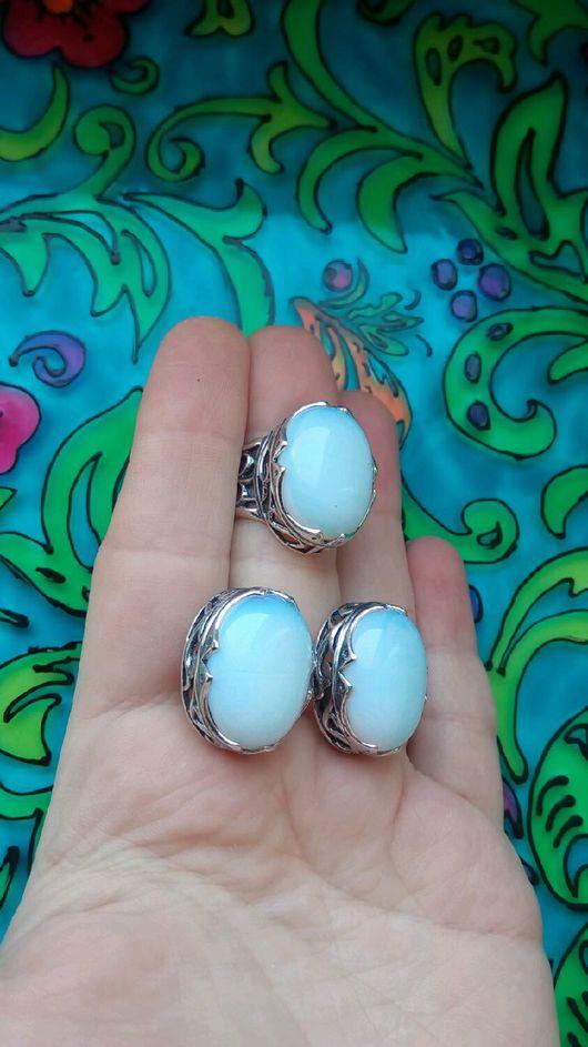 Комплекты украшений ручной работы. Ярмарка Мастеров - ручная работа. Купить 97  Комплект серебрение серьги и кольцо с камнями. Handmade.
