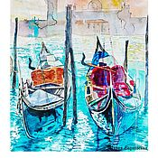 Картины и панно handmade. Livemaster - original item Painting watercolor Venice. Rain and sun Interior large. Handmade.