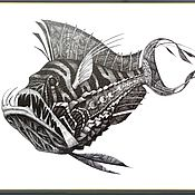 """Картины и панно ручной работы. Ярмарка Мастеров - ручная работа Литография  """"Чудо-Рыба"""" картина черно-белый рисунок графика. Handmade."""