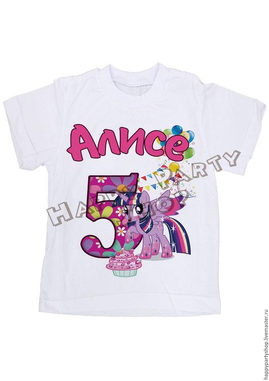 """Одежда для девочек, ручной работы. Ярмарка Мастеров - ручная работа. Купить Детская именная футболка """"Пони Искорка"""". Handmade. Белый"""