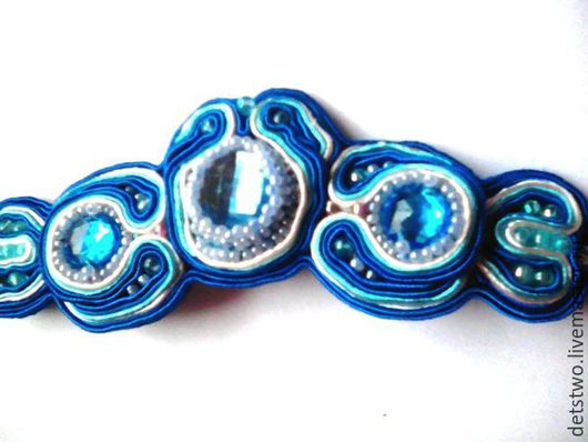 браслет-сутажный-бисер-стразы-подарок-женщине-девушке-оригинальный браслетик-недорогой подарок-синий-красивый-недорого-подарок на любой случай